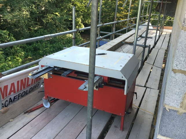 Profile machinery to create longer strips for the standing seam roof